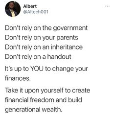 Preach @altech001 . . #GetMoneySmart #Business #Finance #Investing #MakeItHappen #MIH #RethinkRich #FinancialEducation #Wealth #MoneyManagement #PersonalFinance Ways To Save Money, How To Get Money, Rely On Yourself, Finance Blog, Get Out Of Debt, Make It Happen, Money Management, Motivation Inspiration, Stock Market