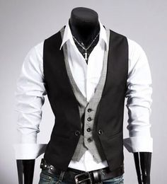 Looking for Men's Trendy Street Fashion? Check out this Men's Double Design Layered Look Vest that fits perfectly with a plain white shirt or any plain color sh
