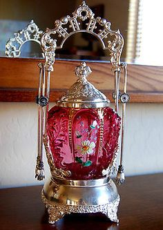 Victorian Antique Pickle Castor Cranberry Enameled Northwood Jar Monarch s P | eBay