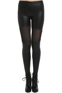 Dual-tone Opaque Thigh Black Leggings. Description Black leggings, featuring an elastic waist, asymmetric dual-tone design, opaque thigh styling, a soft touch. Fabric Vinyl and Polyester. Washing Specialist Dry Clean. #Romwe