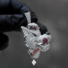 """Custom Solid 14K White Gold Baby-Sized """"Lobos"""" Wolf Pendant Fully Iced Out With VS+ White Diamonds, Black Diamonds & Red Rubies. Finished With Red Enamel. Specially made for @mattfreee #LOBOS #Wolf #NewMexico #CustomJewelry #IFANDCO"""