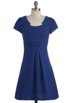 Office Orientation Dress in Cobalt - Mid-length, Blue, Solid, Bows, Short Sleeves, Work, Fall, Pleats, Empire