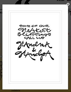"""Von.G Art: Original Saying/Quote """"Some of Our Greatest Blessings Call Us Grandma & Grandpa"""" Black & White Double-Matted Sharpie Artwork (11x14). Perfect Grandparent's/Grandma & Grandpa gift - for the amazing people in your life! The BLACK Sharpie-drawn artwork is heat-processed (to make the drawing lines solid) onto heavy 80lb/97 bright WHITE archival-quality/acid-free paper & arrives to you double-matted in WHITE, signed by the artist & protected in a clear plastic-sleeve. This listing…"""