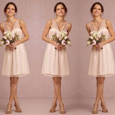 Elegant Short Light Pink Peach V Neck Tulle Bridesmaid Dress - uniqistic.com/