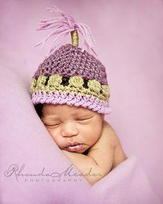 Newborn Hat  Baby Beanie  Crochet Baby Hat  in Purple by HatThat,