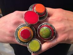Collection of Bakelite & sterling rings by Sallybass.com