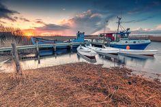Am Ringkøbing Fjord, Boot, Dänemark, Hafen, Nordsee, Schilf, Sonnenuntergang, Jütland