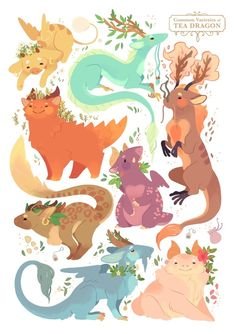 Tea Dragons - A gallery-quality illustration art print by Katie O'Neill for sale.