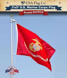 """Marine Corps Flag by USA Flag Co. is 100% American Made: BEST 3x5 Indoor / Outdoor USMC Flag, Made in the USA, Don't fall Victim to """"Cheap China Imitations""""."""