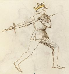 Two-handed sword maneuver. The Flower of Battle, by the greatest fencing-master of the late 1300s, Fiore Furlan dei Liberi da Premariacco. MS LUDWIG XV 13, fol. 33r. Getty Museum, Los Angeles.