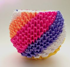 Image detail for Origami Vase Jar 500 pieces Rainbow Diagonal by 3d Origami Ball, Origami And Kirigami, Paper Crafts Origami, Origami Pencil Holder, Modular Origami, Tissue Paper Flowers, Rainbow Swirl, Paper Folding, Bud Vases