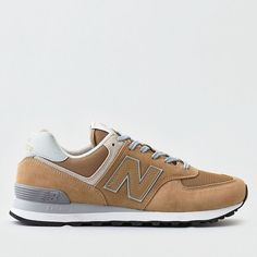 NEW BALANCE 574 SNEAKER ($80) ❤ liked on Polyvore featuring men's fashion, men's shoes, men's sneakers, neutral, mens mesh shoes, mens tan shoes, mens lace up shoes and mens mesh sneakers