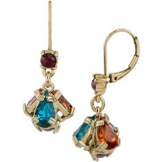Betsey Johnson Carnival Multi Small Drop Earring (215 ARS) ❤ liked on Polyvore featuring jewelry, earrings, drop earrings, multi, diamond earrings, purple drop earrings, womens jewellery and gold tone earrings