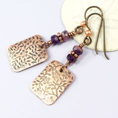 Purple and Copper Flower Earrings | Nature Earrings for Women | Flower Patterned Jewelry | Metalsmithed Jewelry | Solana Kai Designs by SolanaKaiDesigns on Etsy @SolanaKaiDesign #SolanaKaiDesigns #Earrings #Handmade #Metalsmith