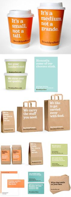 Brooklyn Fare, a gourmet market in NYC. Branding by Mucca Design of NYC. Really humorful packaging.