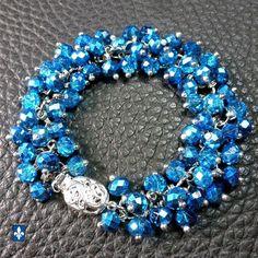 ♥ Sparkling Half Metallic Ocean Blue Plated Silver Bracelet