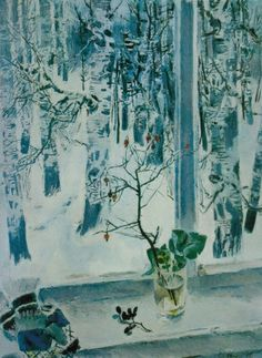 Yevsei Moiseenko - The Window Soviet Art, Russian Painting, Window View, Through The Window, Watercolor And Ink, Traditional Art, Illustration Art, Illustrations, Art Boards