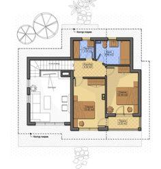 Plan etaj 50 mp cu doua dormitoare si baie
