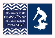 Boy room art, surf art, teen boy art, surfer poster, chevron room decor, inspirational surf quotes, compliments PB Teen room decor on Etsy, $23.99