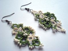 Spring Green and White Beaded Tatted Earrings by FibersStudio, $20.00