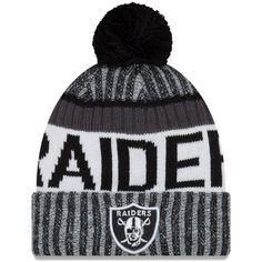 Oakland Raiders New Era 2017 Sideline Cold Weather Sport Knit Hat - Black  White 0e1c4aaf2