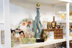 Curvy retro lamp, vintage jewelry box, vintage saki set & Pyrex coffee carafes.