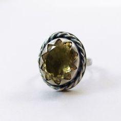 Cytryn fasetowany i srebro - pierścionek r 17 - ChileArt
