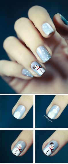 Super cute snowman nail tutorial! #tutorial #snowman #christmas #nails #nailart #nailpolish #naillacquer #polishaddict - bellashoot.com #holidaynails #Partynails #cute