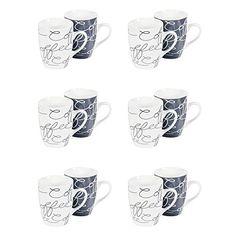 flirt by R&B Kaffeebecher 'Cornello grey', 250ml, H 11cm, Porzellan, grau/weiß (12 Stück) - http://geschirrkaufen.online/flirt-by-r-b/flirt-by-r-b-kaffeebecher-cornello-grey-250ml-h-12