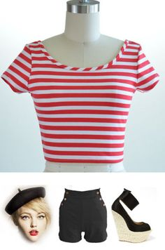 Soul Cal Deluxe Cropped Flag Top ($16) ❤ liked on Polyvore   clothes    Pinterest   Polyvore, Holiday tops and Evening tops