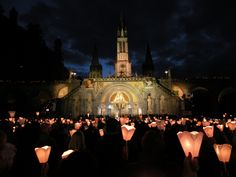 The Shrine of Lourdes | http://www.saintnook.com/saints/bernadettesoubirous | https://flic.kr/p/ntfQtp | Torchlight Procession - F-DSCN5864 | Went on Three day Pilgrimage to Lourdes, France. Torchlight Procession, with floodlit Basilica of Lourdes in background  I didnt bring my Nikon DSLR 5100 with me so I took photos with my old Nikon  P80 Bridge camera