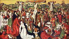 Derick Baegert ca. 1440 – 1515  Mount Calvary oil on panel (230 × 390 cm) — ca. 1475 Museum Propsteikirche, Dortmund  Derick Baegert biography  This work is linked to Mark 15:27