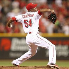 Aroldis Chapman #Reds I love watching him pitch. Fastest pitcher in MLB Breakin the 107mph fast ball across the plate, he's fun to watch.