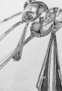 Reflective Surfaces, Drawing by Louise. The still object that is drawn shoes an immense amount of detail with the reflection and shadowing. Ap Drawing, Object Drawing, Still Life Drawing, Drawing Lessons, Art Lessons, Spoon Drawing, Metal Drawing, High School Drawing, Reflection Art