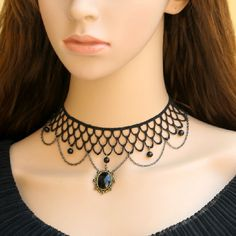 Elegant Black Lace Choker Necklace Gothic Choker by FairybyFoxie