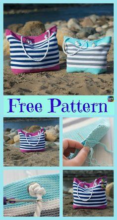 Crochet Classic Beach Bag – Free Pattern #freecrochetpatterns #bag#beachbag