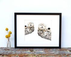 SEA OTTERS Painting  watercolor art print  Gift by TripleStudio
