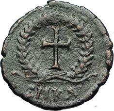 THEODOSIUS II 425AD Christian CROSS Genuine Authentic Ancient Roman Coin i69549