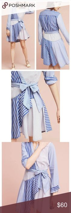 Anthropologie Maeve Newport Striped Shirtdress Super cute and feminine dress from Anthropologie. Size 12, 100% cotton. Dress form is size 36-28-36 Anthropologie Dresses