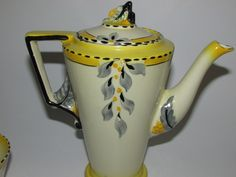Art Deco Burleigh Ware Zenith Shape 'Bouquet'. Condition:Good overall condition. Small nick to inside rim of coffee pot. Few small losses to black paint on pot. Otherwise all pieces good condition with some having light crazing. | eBay!