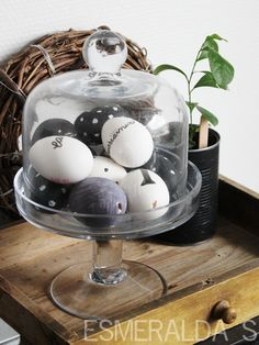 Easter Cloche - white and black eggs