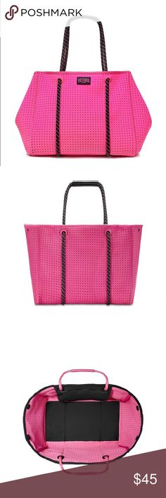 "New Victoria secret gym tote * Perfect for your phone, a large wallet, water bottle, cosmetic case and sneakers * 		Victoria Sport logo * 		Interior hanging zip pocket * 		8¾"" strap drop length * 		25½""L x 9½""W x 14""H * 		Imported Neoprene Victoria's Secret Bags Totes"