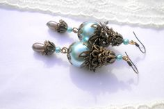 Light Blue Filigree Bronze Earrings. Round and Drop by juta230, $21.35