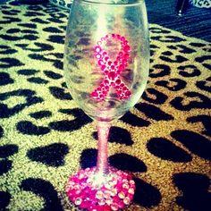 Breast Cancer Awareness Wine Glass  Photo by makenzielauren