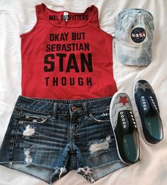 Okay but Sebastian Stan though red tank top by MXLoutfitters