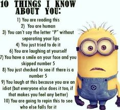 No matter how many times you watch the funny faces of these minions each time they look more funnier…. So we have collected best Most funniest Minions images collection . Read Minions images with Quotes-Humor Memes and Jokes Funny Minion Pictures, Funny Minion Memes, Crazy Funny Memes, Minions Quotes, Really Funny Memes, Funny Relatable Memes, Funny Facts, Haha Funny, Stupid Memes