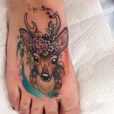 Deer tattoo - wouldn't place on foot personally, this would look lovely as a forearm tattoo!