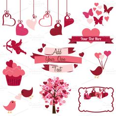 Valentine's Day Vectors and Clipart ~~ *Please click on image for full preview* #CreativeMarket $6 Our Valentine's Day set includes 1 Illustrator EPS(8) vector file, 15 PNG files with transparent backgrounds and 15 JPG files with white backgrounds. The PNGs and JPGs are 300dpi and approximately 10 inches at thei…