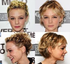 I'm obsessed with Carey Mulligan's hair.  I especially like the bottom right picture.  I'd love to do this but just don't know how this short cut would look on me these days since I'm not a teeny little pixie of a girl.