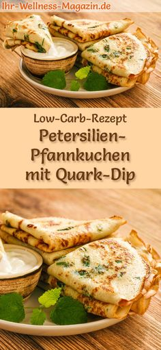Low Carb Petersilien-Pfannkuchen mit Quark-Dip - herzhaftes Pancake-Rezept - Düşük karbonhidrat yemekleri - Las recetas más prácticas y fáciles Low Fat Low Carb, Low Carb Pizza, Low Carb Quiche, Low Carb Burger, Healthy Low Carb Recipes, Low Carb Dinner Recipes, Law Carb, Low Carb Pancakes, Low Carb Biscuit